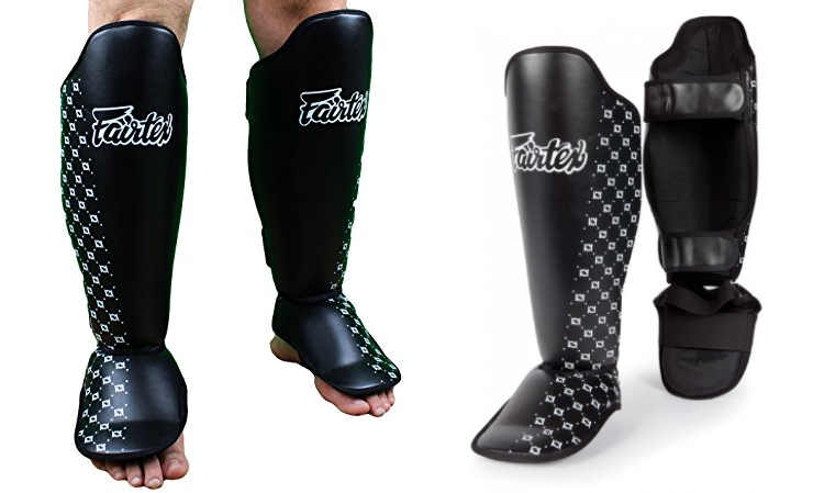 FAIRTEX SHIN GUARDS PADS SP5 WHITE TWISTED SPARRING  MUAY THAI BOXING MMA.